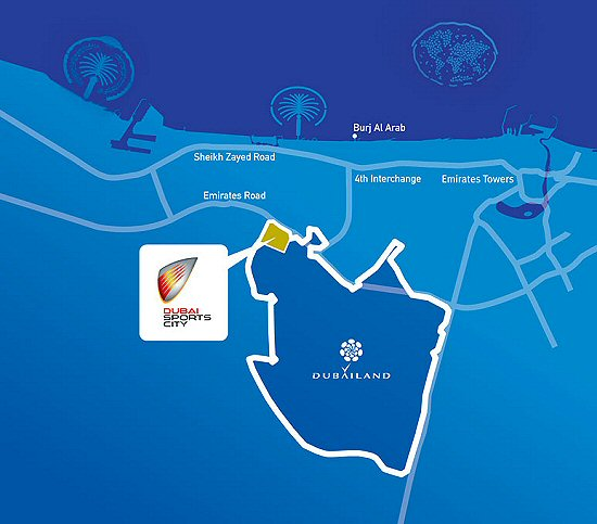the world dubai map. Dubai Sports City will be the