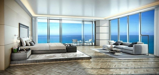 The main rooms of each condo are designed to maximize the stunning water views.