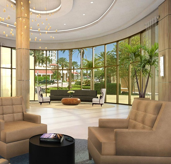 The lobby will have a dramatic atrium with comfortable seating areas.