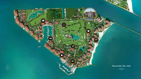Fisher Island spans 216 acres and is accessible only by the island's ferry or private boat.