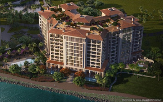 Palazzo Del Sol has a premium waterfront location on the island.