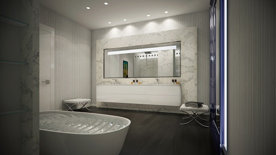 The unique soaking tub is designed by Piero Lissoni, an Italian designer known for his contemporary style.