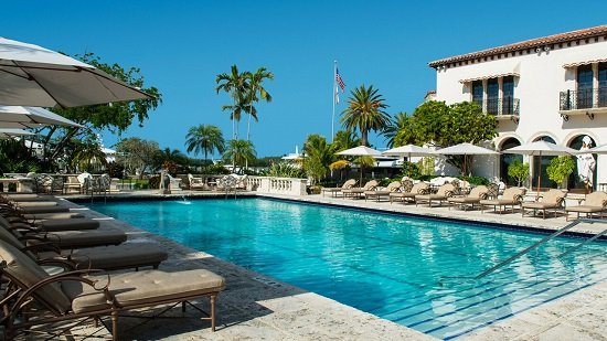 The pool at the exclusive Fisher Island Club