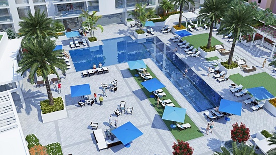 The resort deck will have a pool, private cabanas and a lounge.