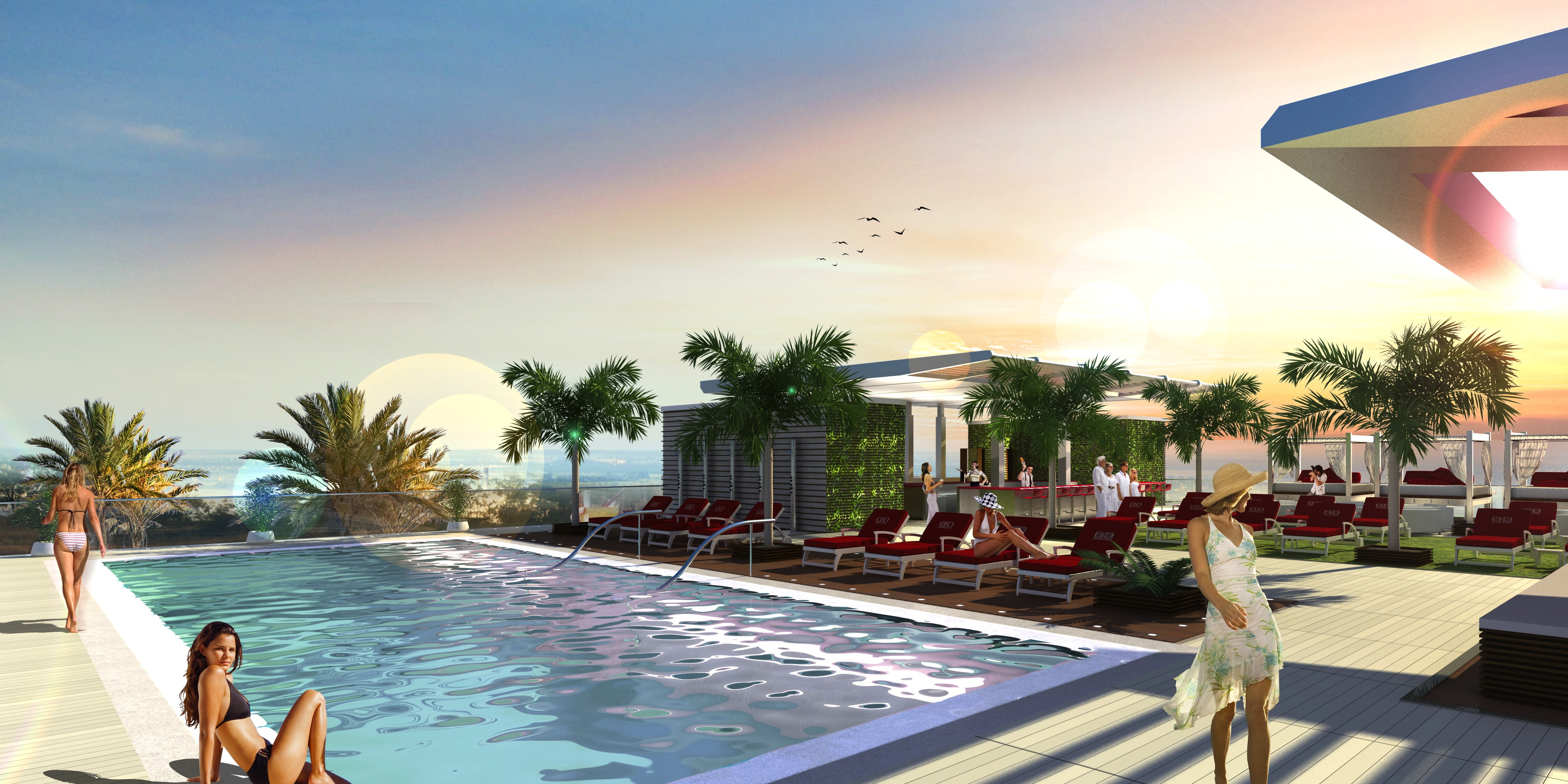 An infinity pool and lounge will be located on the rooftop.