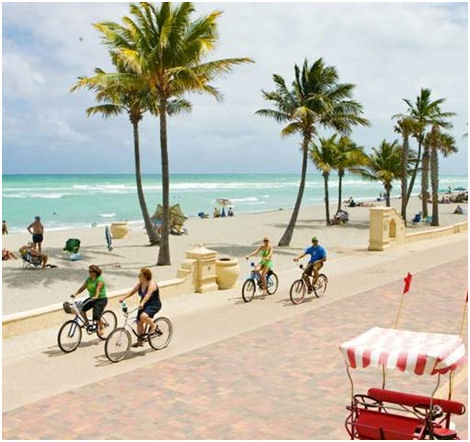 Hollywood Beach has a 2.5 mile boardwalk that runs along the Atlantic.