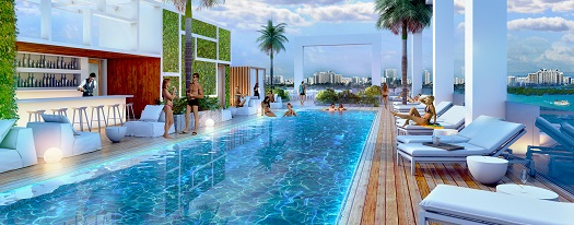 The fifth floor pool and sun deck will overlook Biscayne Bay.