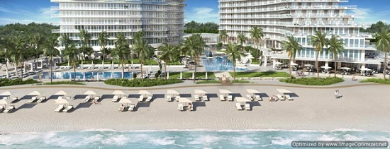 Designed in contemporary styling, Auberge Beach Residences will consist of two glass towers.