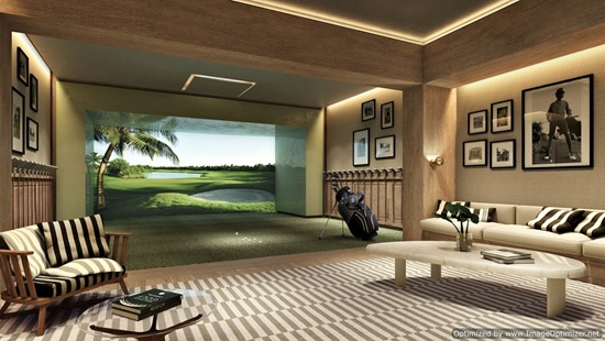 For those rare rainy days, work on your drives in this golf simulation room.
