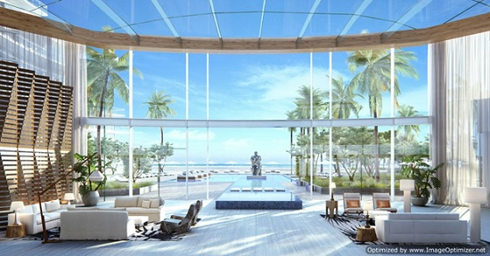 The lobby of Auberge will open out onto the pool deck and beach.