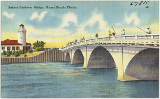 The original Haulover Bridge built in 1925 linked Sunny Isles and Miami Beach.