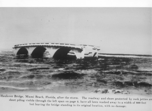 A major hurricane in 1926 wiped out both ends of the Haulover Bridge but left the main structure standing unscathed.