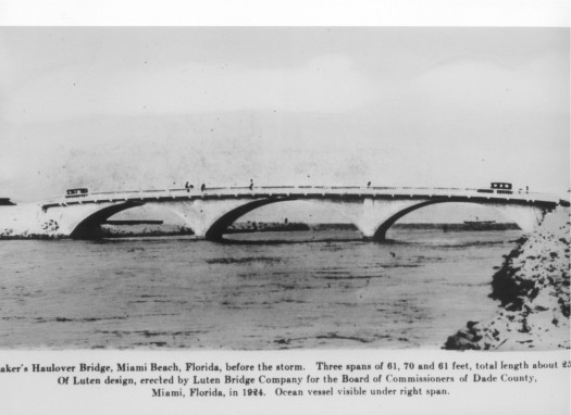 The original Haulover Bridge built in 1925 connected the barrier island of Sunny Isles to the city of Miami Beach.