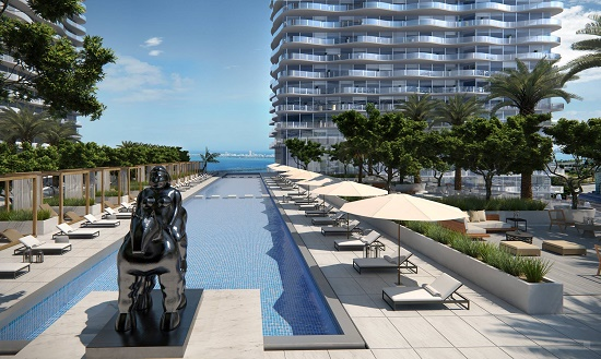 is lap pool and deck on the 12th floor will overlook Biscayne Bay.