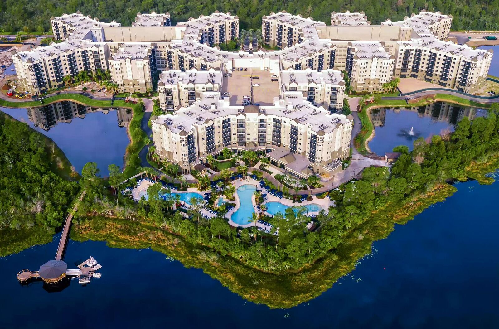 Spanning 115 acres,The Grove Resort has 16 residential buildings.