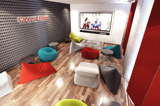 The Cinema Room will offer opportunities for students to relax and socialize.