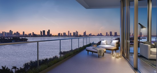 The building's design optimizes expansive views of Biscayne Bay.