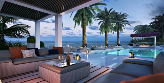 The pool deck has cabanas and spacious sitting areas.