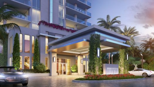 VistaBlue will have a lushly landscaped entrance with a dramatic porte cochere.