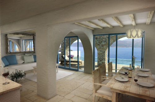 The homes offer panoramic views of the sea.