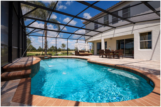 Each home has its own private, screened-in pool.